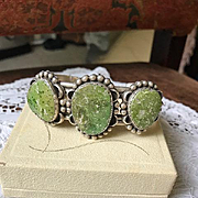 Rare Carico Lake Lime Green Turquoise Cuff Artist Signed