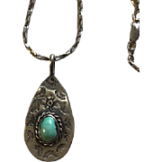 Native American Artist Signed Sterling Turquoise Necklace