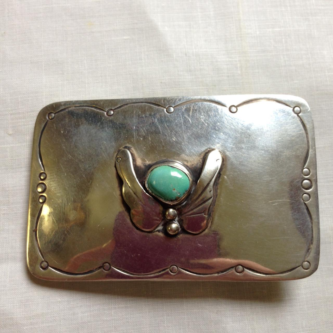Navajo Signed Sterling and Turquoise Butterfly Buckle