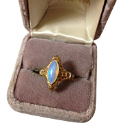 18K and Platinum Opal Art Deco Ring