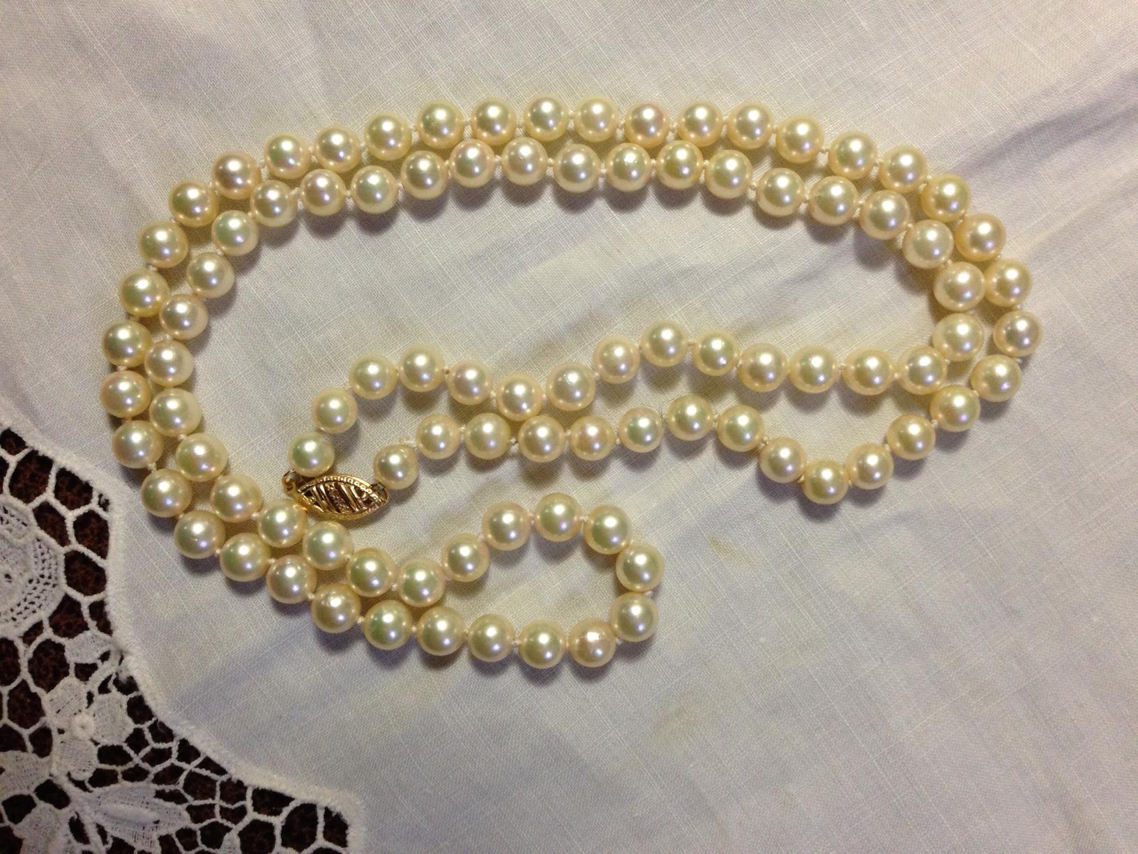 14K Cultured Pearl Necklace 24""