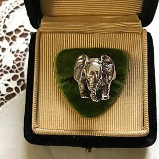 Vintage Sterling Elephant Ring Carol Felley Style