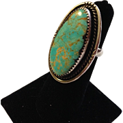 Signed Pilot Mountain  Turquoise Sterling Ring