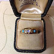 18K Edwardian Moonstone Turquoise Diamond Ring 1904