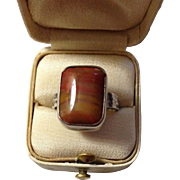 Petrified Wood and Sterling Ring
