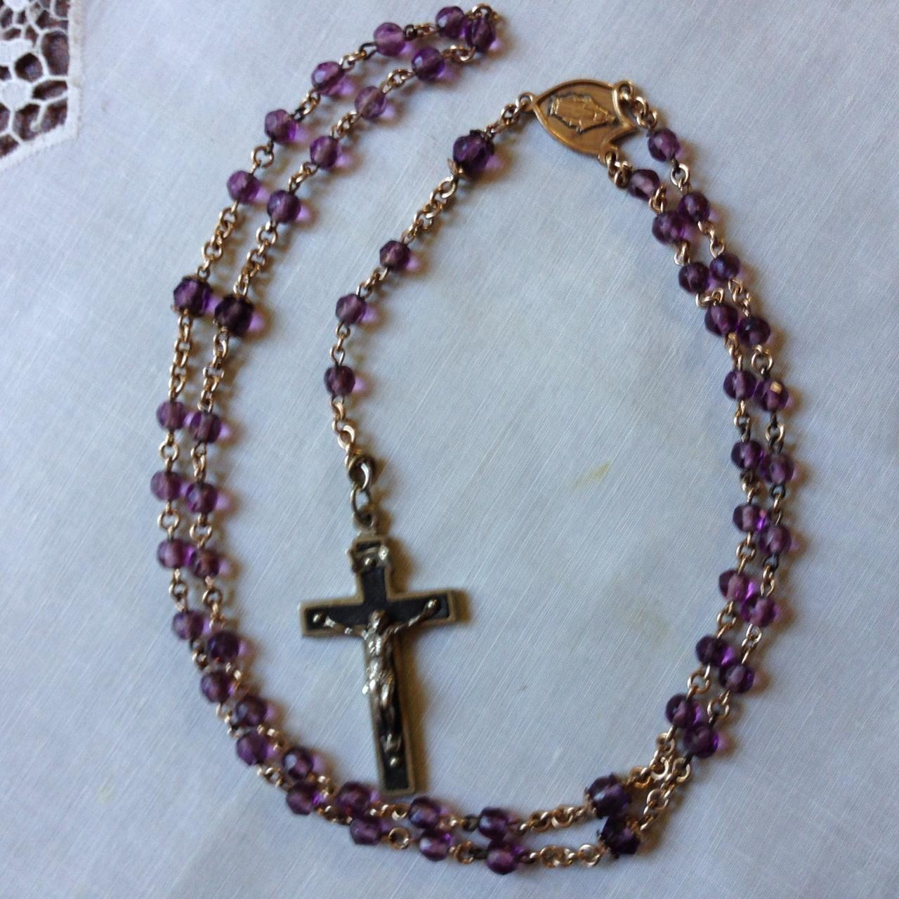 French Amethyst Bead Rosary