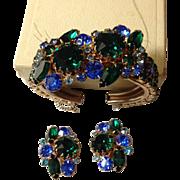 Selro Rhinestone Clamper Bracelet and Earring Demi