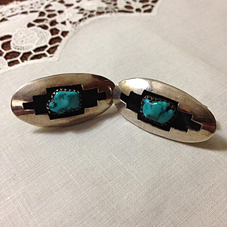 Signed Navajo Sterling and Turquoise Earrings