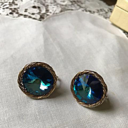 Vendome Blue Watermelon Rivoli Earrings