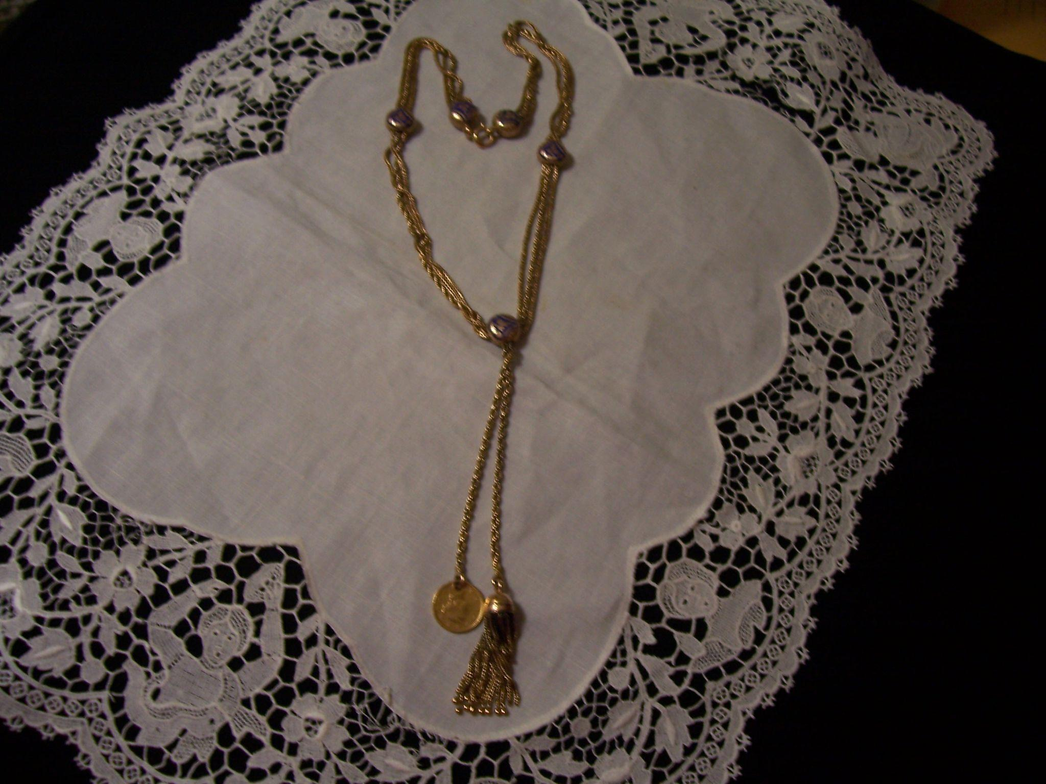 18K and 22K Victorian Foxtail and Enamel Drop Necklace