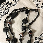 Victorian Murano Glass and Vulcanite/Ebonite necklace