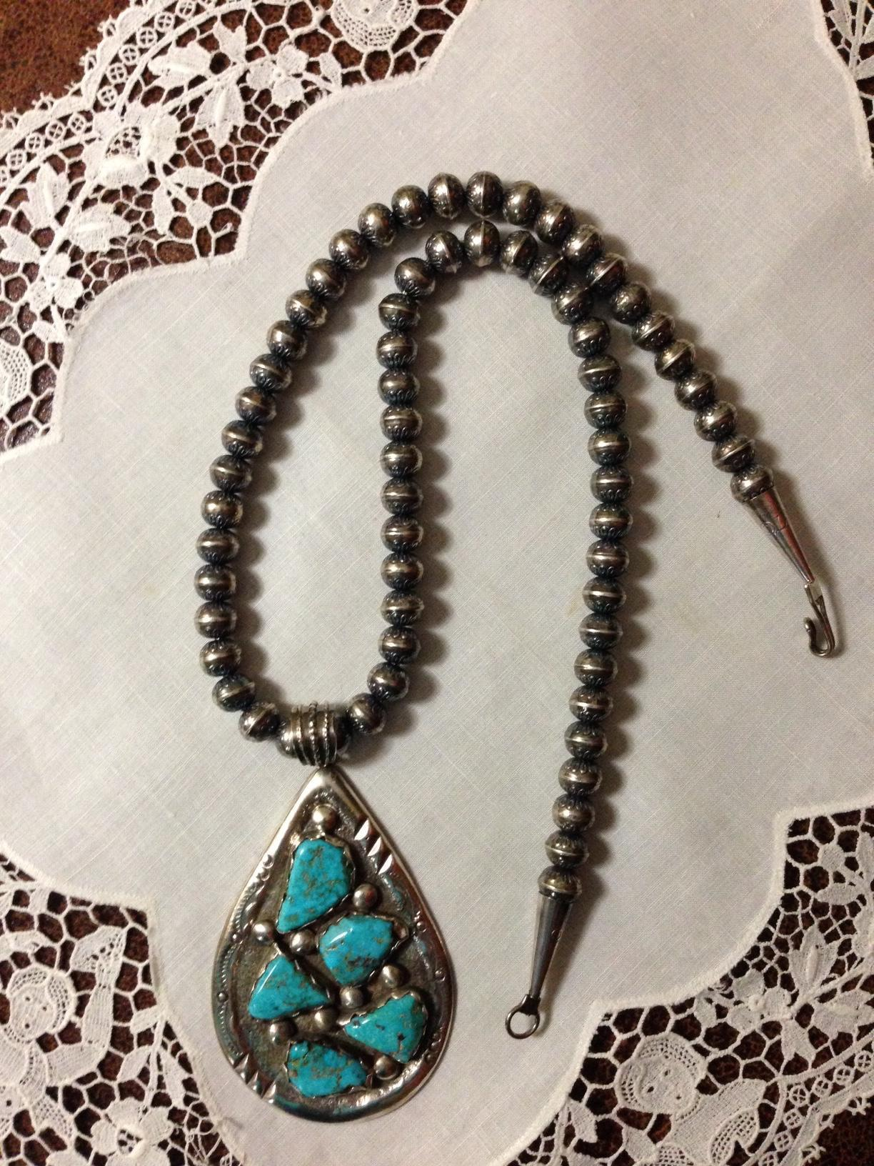 Large Early Zuni Signed Sterling Turquoise Necklace