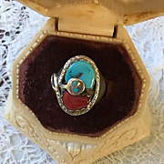 Effie Calavasa Turquoise/Coral Sterling Ring
