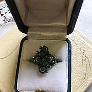 Zuni Style Sterling Snake Eyes Ring