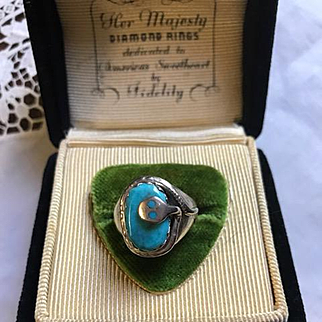Effie Calavasa Sterling Turquoise Ring