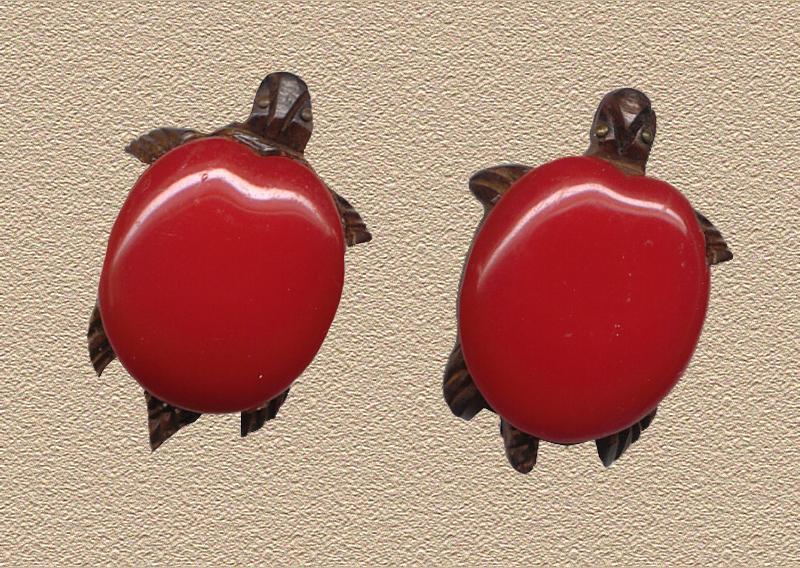 Vintage Bakelite Turtle Dress Clips c1930 REDUCED