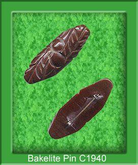 Deeply Carved Vintage Bakelite Pin in Chocolate Brown