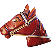 Mint Bakelite Horse Head Brooch - Just Lovely!