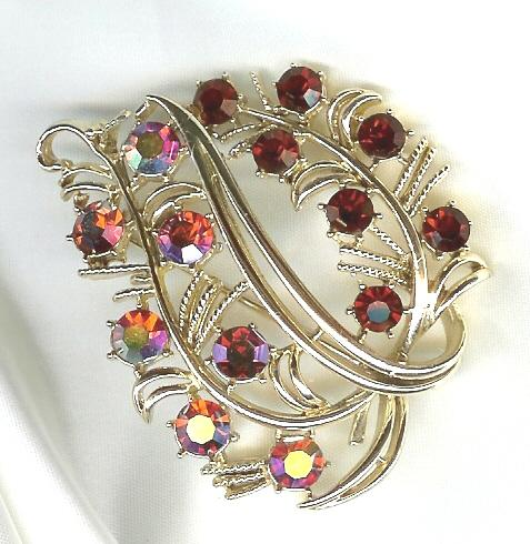 Coro Red Crystal Brooch - Fabulous Color!!!
