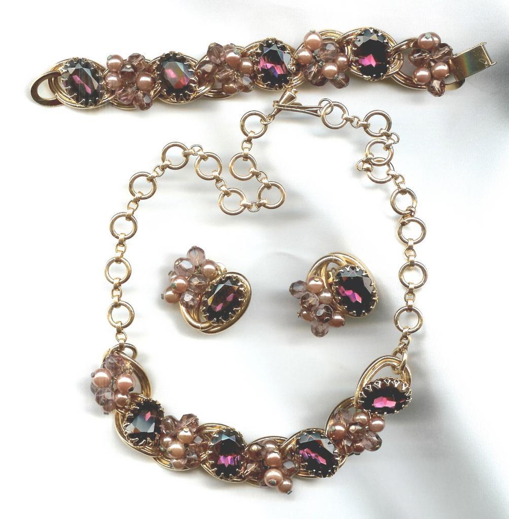 RARE  Purple & Lavender Parure - Craftmanship is Fabulous