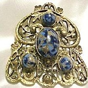 Blue Murano Venetian Brooch - Must See Close Up Photos