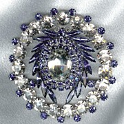 Dominique Massive Signed Blue & Clear Brooch - Must see close ups.