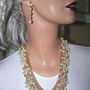Massive and Stunning Faux Pearl Bib Set - Necklace and Earrings