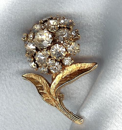 Austrian Crystal  Flower Brooch - Marked Austria