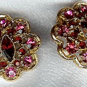 Various hues of Red Vintage Earrings