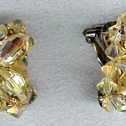 Yellow Multi Facet Crystals & Rhinestone Earrings