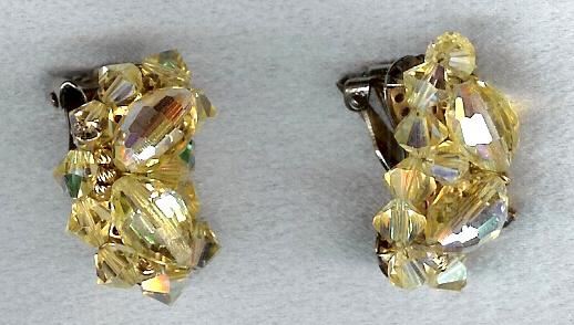 Yellow Multi Facet Crystals & Rhinestone Earrings
