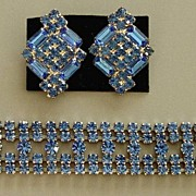 Dominique Blue Demi-Parure, Bracelet & Earrings - RARE Rhodium Plating
