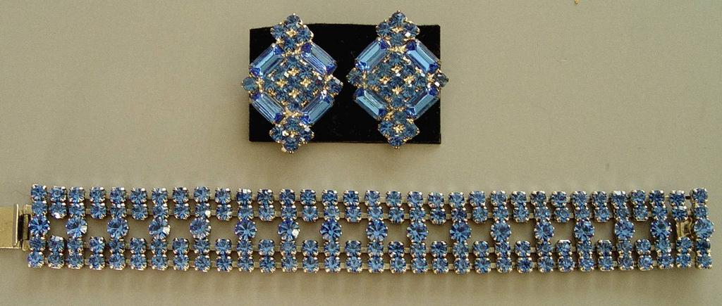 Dominique Blue Demi-Parure, Bracelet & Earrings - RARE Rhodium Plating