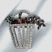 Eisenberg Ice Flower Basket Brooch