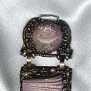 Glitzy Lucite Lavender with Golden Sparkles Huge Bracelet - Must See!