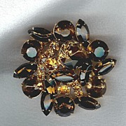 Topaz Domed Exquisite Brooch - Must Enlarge to Appreciate!