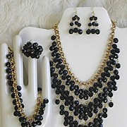 Faux Black Pearl Drama Diva Necklace and Earrings