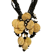 Seed Bead Necklace with With Ceramic Drop/Brooch
