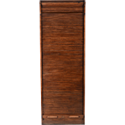 American Oak File Cabinet with Roll Top Door
