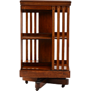 American Swivel Bookcase On Rollers