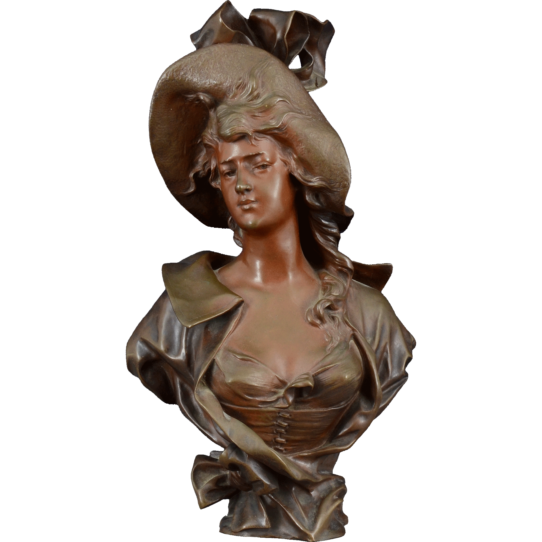 Bronze Bust Art Nouveau Woman by Georges Coudray