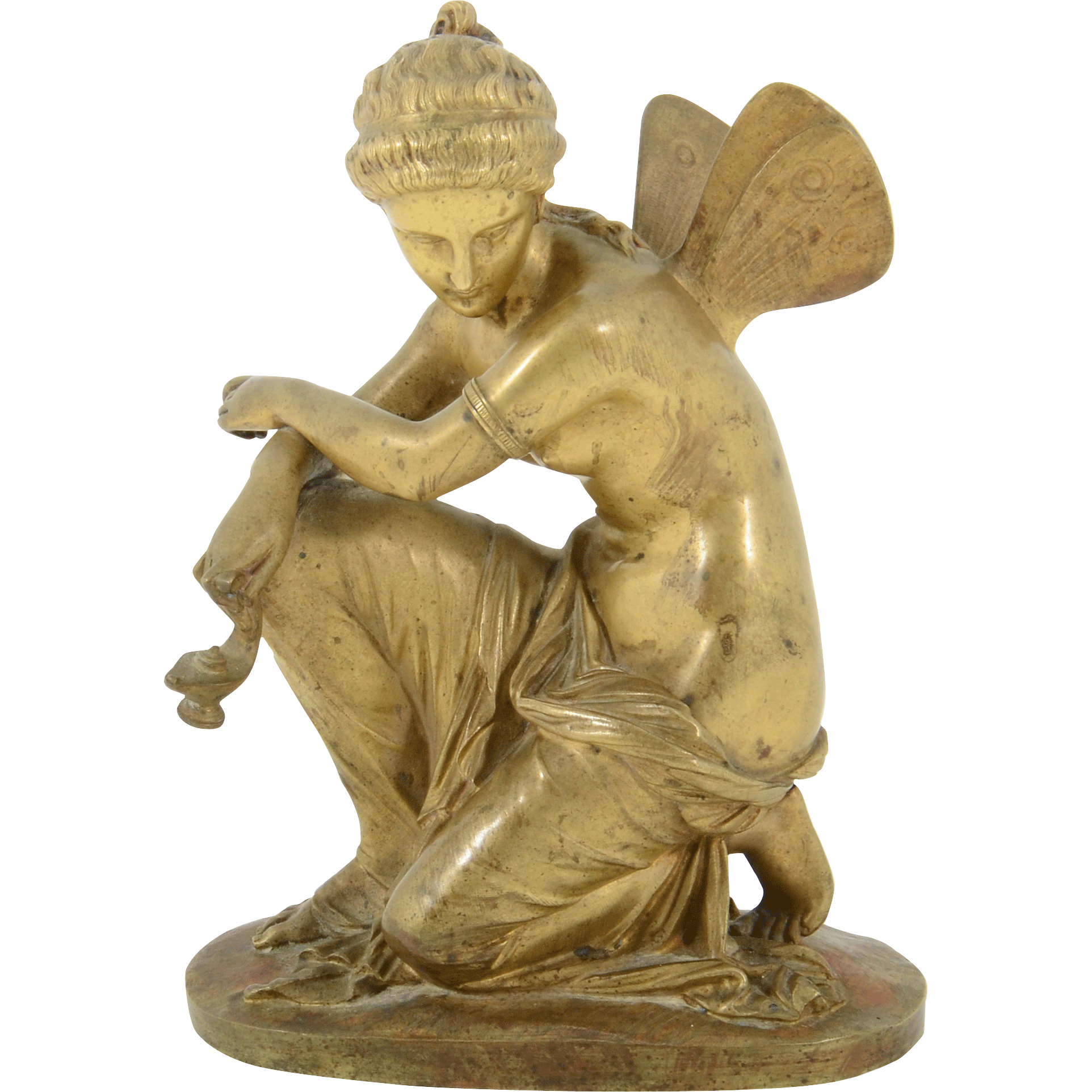French Bronze Sculpture Greek Goddess Psyche Attributed to E Laurent