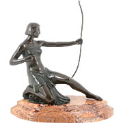 European Art Deco Female Archer Bronze Sculpture
