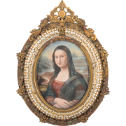 Italian Mona Lisa Miniature Portrait Signed