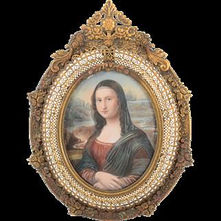 Italian Mona Lisa Miniature Portrait Signed