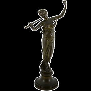 French Bronze Maiden Sculpture Signed Eugene Marioton