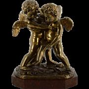 European Bronze Sculpture on Rouge Marble Base