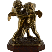European Bronze Sculpture on Rouge Marble Base