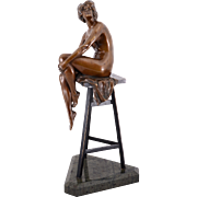 German Bronze Sculpture of Woman On a Stool Signed Gladenbeck
