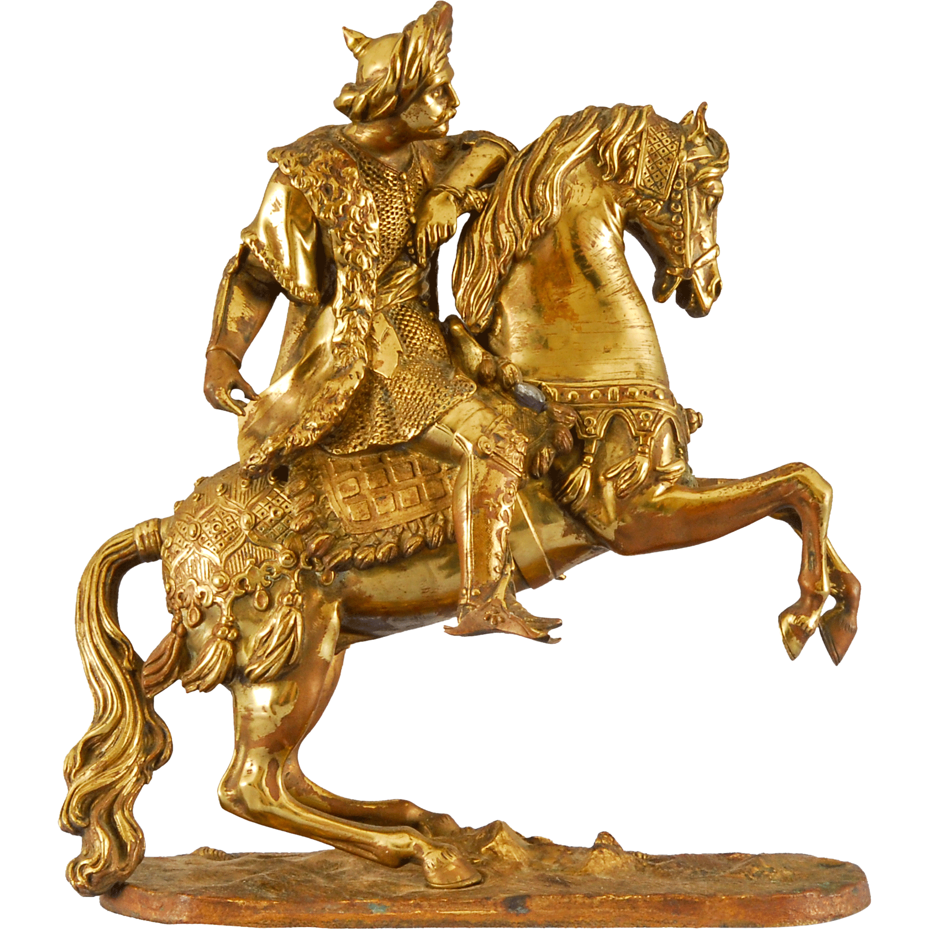 Gilt Bronze Statue of a Cossack on a Rearing Horse